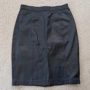 Genuine Leather Skirt - Size 8 - Black